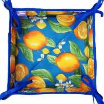 Fabric bread basket printed Citron blue