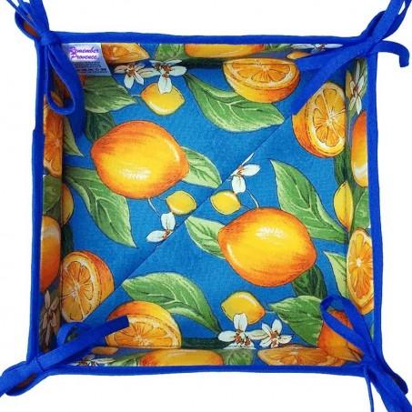 Fabric bread basket printed Citron blue