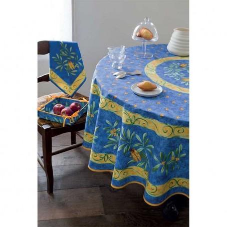 Nappe ronde en coton, imprimé provençal Cigale