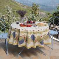 Nappe ronde en coton, imprimé provençal Roses et lavandes