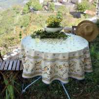 Nappe ronde en coton, imprimé provençal Moustiers
