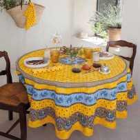 Nappe ronde en coton, imprimé provençal Tradition