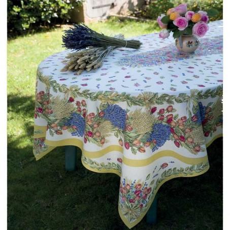 Nappe rectangulaire placé en coton, imprimé Roses & Lavandes