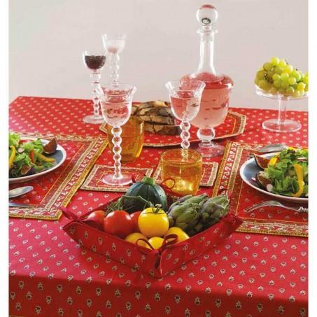 60x60 square tablecloth Avignon allover, Marat d'Avignon red