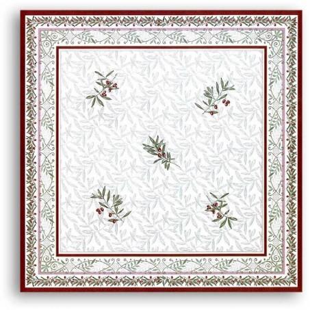 Square table cloth Jacquard woven Auriol white