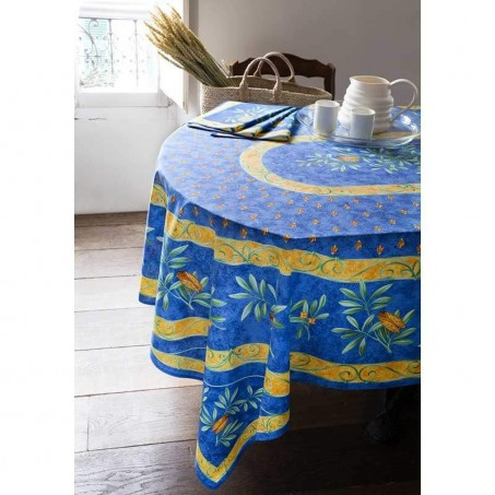 Stain resistant tablecloth, Cigales print in scene