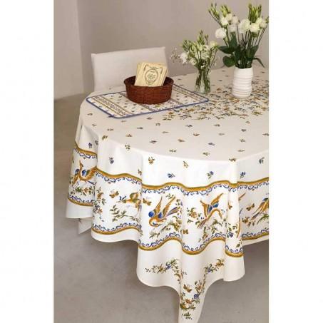 Nappe rectangulaire motif placé en coton, imprimé Moustiers