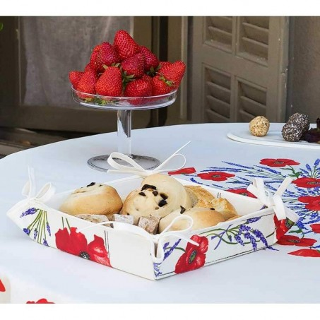 Corbeille à pain provençal Coquelicots Lavandes en tissu imprimé blanc