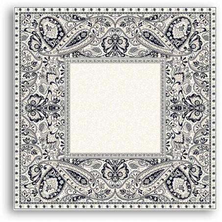Table cover, woven Jacquard Cashmir of Marat d'Avignon black