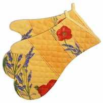 Gants de cuisine matelassé, imprimé Coquelicots Lavandes jaune