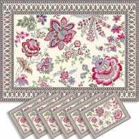 Dining table mats Jacquard woven Garance, Marat d'Avignon pink