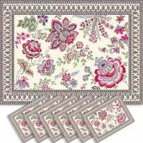 Sets de table rectangulaire, tissé Jacquard Garance fuschia