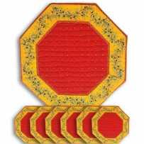 Sets de table octogonal matelassé, imprimé Calissons Olivettes rouge jaune