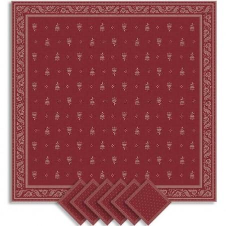 Dinner napkins, woven Jacquard Durance, Marat d'Avignon red