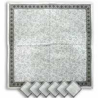 Serviettes de table carrées, imprimé Cashmir noir
