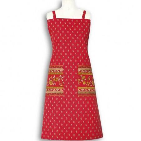 Tablier de cuisine en coton, imprimé Avignon rouge