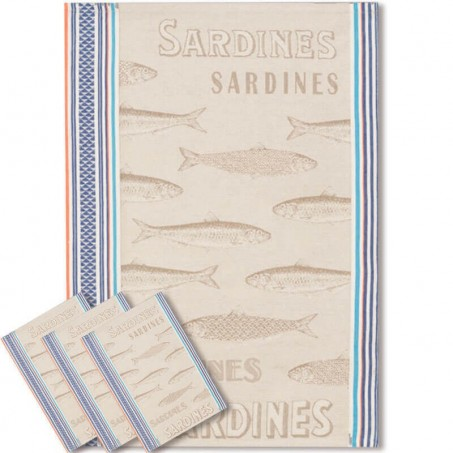 Torchons de cuisine en coton, tissé Jacquard décor Sardine
