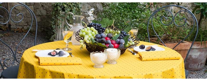 Our genuine French Provencal tablecloths will suit your round tables