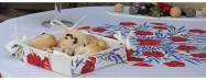 Use Provencal fabric squares on your table as original bread baskets