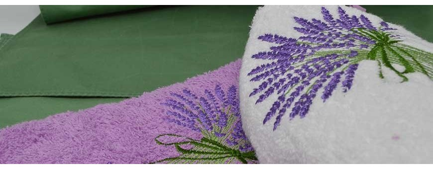 See our bathroom hand towels or kitchen towels sets made in Provence !