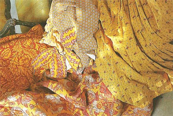tissu coton indiennes jaune